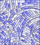 彩色玻璃例证摘要瓦片马赛克背景在黑暗的背景,蓝色口气的 库存图片