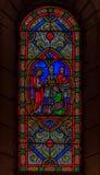 彩色玻璃在圣尼古拉大教堂摩纳哥Ville 图库摄影