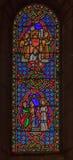 彩色玻璃在圣尼古拉大教堂摩纳哥Ville 免版税库存照片
