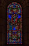 彩色玻璃在圣尼古拉大教堂摩纳哥Ville 免版税库存图片