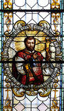 彩色玻璃在圣尼古拉斯大教堂里在新梅斯托,斯洛文尼亚 免版税库存照片