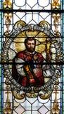 彩色玻璃在圣尼古拉斯大教堂里在新梅斯托,斯洛文尼亚 库存照片