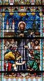 彩色玻璃在圣尼古拉斯大教堂里在新梅斯托,斯洛文尼亚 免版税库存图片
