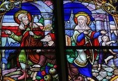 彩色玻璃在梅赫伦大教堂里 图库摄影