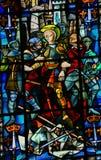 彩色玻璃在鲁昂大教堂-圣贞德里 图库摄影