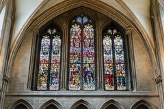 彩色玻璃在维尔斯大教堂 免版税库存图片