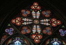 彩色玻璃在Votiv Kirche奉献的教会在维也纳 库存图片