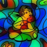 彩色玻璃天使 库存例证