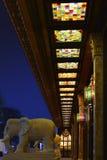彩色玻璃天花板,五颜六色的玻璃platfond, 免版税库存照片