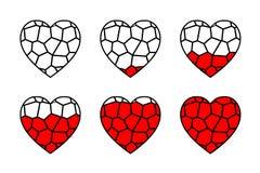 彩色玻璃心脏传染媒介 库存图片