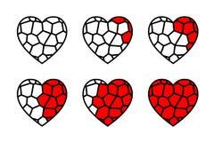 彩色玻璃心脏传染媒介 库存例证