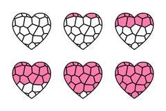 彩色玻璃心脏 库存例证