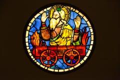 彩色玻璃火热的运输车的Taddeo Gaddi -伊莱亚斯 免版税库存图片