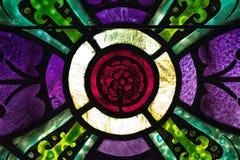 彩色玻璃的英国兰开斯特家族族徽 图库摄影