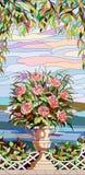 彩色玻璃窗-玫瑰花束在花瓶的 库存图片