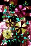彩色玻璃设计-由一年级学生的绘画 免版税库存图片