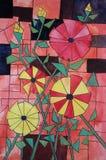 彩色玻璃设计-由一年级学生的绘画 免版税库存照片