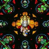 彩色玻璃-上帝在天堂 库存照片