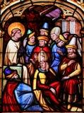 彩色玻璃-圣徒强健在巴约大教堂里  免版税库存照片