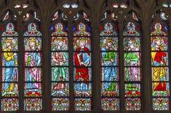 彩色玻璃巴黎圣母院巴黎法国国王 库存照片
