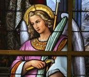 彩色玻璃-在耶稣痛苦的讽喻  免版税库存照片