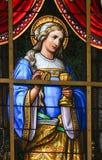 彩色玻璃-在耶稣痛苦的讽喻  免版税库存图片