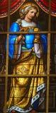 彩色玻璃-在耶稣痛苦的讽喻  库存图片