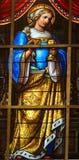 彩色玻璃-在耶稣痛苦的讽喻  库存照片
