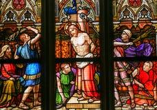彩色玻璃-基督的鞭打 图库摄影