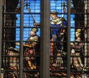 彩色玻璃-布鲁塞尔大教堂 库存照片