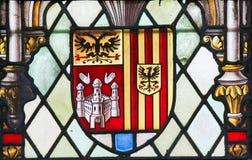 彩色玻璃-徽章安特卫普省的 图库摄影