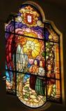 彩色玻璃-注视天使面包-法蒂玛,葡萄牙 向量例证
