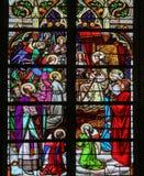 彩色玻璃-耶稣在天堂 图库摄影