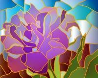 彩色玻璃紫色郁金香 免版税图库摄影