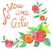 水彩花卉构成 手拉的flowe浪漫卡片  库存图片