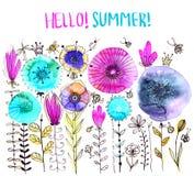 水彩花卉构成 手拉的flowe浪漫卡片  免版税库存图片