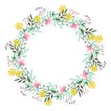 水彩花卉框架 免版税图库摄影