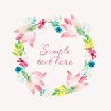 水彩花卉花圈框架 手绘画,柔和的花 也corel凹道例证向量 图库摄影