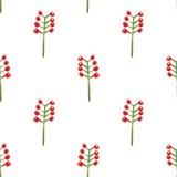 水彩花卉莓果无缝的样式 免版税库存图片