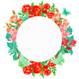 水彩花卉贺卡 水彩百花香 装饰花卉框架 背景查出的白色 免版税图库摄影