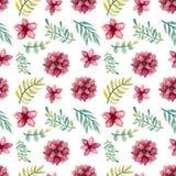 水彩花和绿色叶子无缝的样式 免版税图库摄影