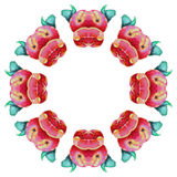 水彩花圈绘画 库存图片