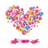水彩花的心脏 皇族释放例证