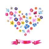 水彩花的心脏 库存例证