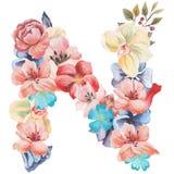 水彩花,被隔绝手拉在白色背景,婚姻的设计,英语字母表字母N  免版税库存照片