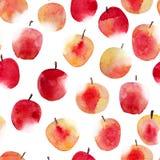 水彩苹果 无缝的手拉的模式 免版税库存照片