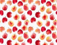 水彩苹果 无缝的手拉的模式 免版税库存图片