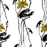 水彩莲花无缝的样式传染媒介 图库摄影