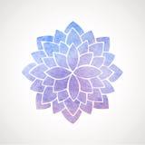 水彩莲花蓝色和紫罗兰 库存图片