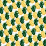 水彩菠萝无缝的样式 时尚夏天墙纸设计 皇族释放例证